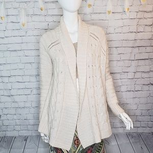 Talbots Cream Cable Knit Sweater Cardigan